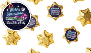 Neon Personalised Christmas Chocolate Stars