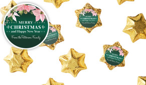 Pink On Green Personalised Christmas Chocolate Stars