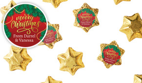 Red Festive Personalised Christmas Chocolate Stars