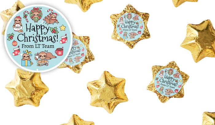 Sloths Personalised Christmas Chocolate Stars