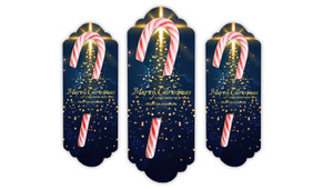 Blue Night Personalised Candy Cane Card