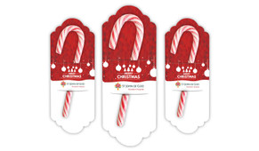 Corporate Personalised Christmas Candy Cane Card