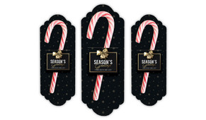 Glossy Gift Black Personalised Candy Cane Card