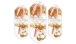 Bronzed Baubles Personalised Candy Cane Card