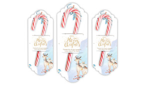 Deer Watercolour Personalised Candy Cane Card