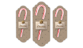 Glossy Gift Gold Personalised Candy Cane Card