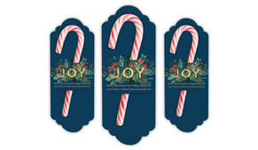 Joy Personalised Christmas Candy Cane Card