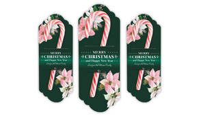 Pink On Green Personalised Christmas Candy Cane Card