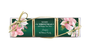Pink On Green Christmas Mini Chocolate Trio Favour