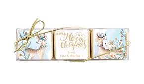 Deer Watercolour Christmas Mini Chocolate Trio Favour