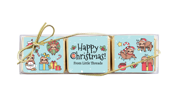 Sloth Christmas Mini Chocolate Trio Favour