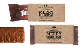 Merry Christmas On Kraft Individual TimTam TM (Box Of 150)