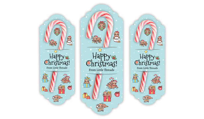 Sloths Personalised Candy Cane Card