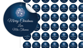 Blue Ornament Personalised 25mm Labels
