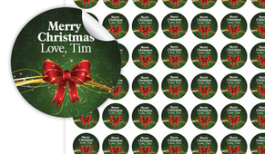 Christmas Bow Personalised 25mm Labels