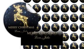 Glowing Reindeer Personalised 25mm Labels