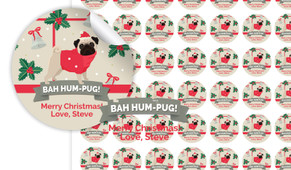 Bah Hum Pug Personalised 25mm Labels