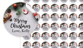 Christmas Background Personalised 25mm Labels