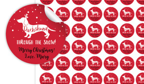Dachshund Through The Snow Personalised 25mm Labels