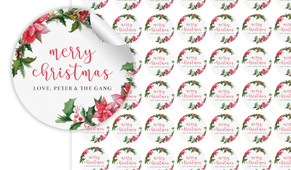 Poinsettia Personalised 25mm Labels
