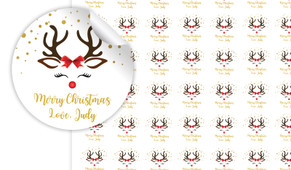 Reindeer Face Personalised 25mm Labels