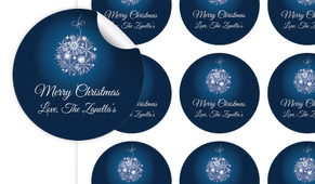 Blue Ornament Personalised 65mm Labels