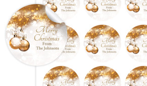 Bronzed Baubles Personalised 65mm Labels