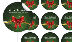 Christmas Bow Personalised 65mm Labels