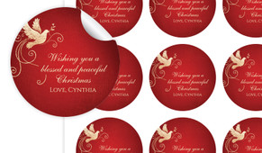 Dove In Gold Personalised 65mm Labels