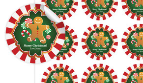 Gingerbread Man Personalised 65mm Labels