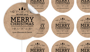 Merry Christmas On Kraft Personalised 65mm Labels