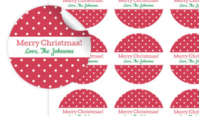 Red Polkadot Personalised 65mm Labels