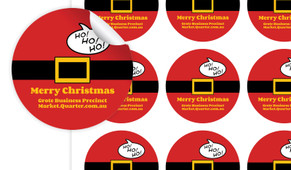 Santa Belt Personalised 65mm Labels