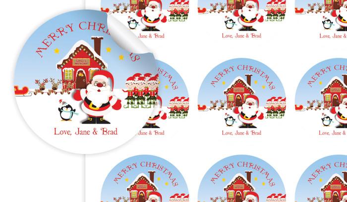 Santas Workshop Personalised 65mm Labels