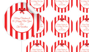 Stripes In Red Personalised 65mm Labels