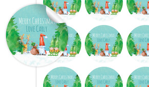A Watercolour Christmas Personalised 65mm Labels