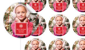 A Photo With Red Square Personalised 65mm Labels