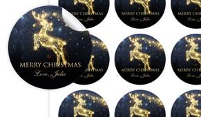 Glowing Reindeer Personalised 65mm Labels