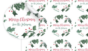Holly Watercolour Personalised 65mm Labels