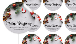 Christmas Background Personalised 65mm Labels