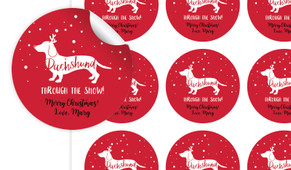 Dachshund Through The Snow Personalised 65mm Labels