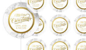 Marble And Gold Christmas Personalised 65mm Labels