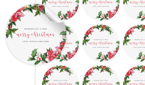 Poinsettia Personalised 65mm Labels