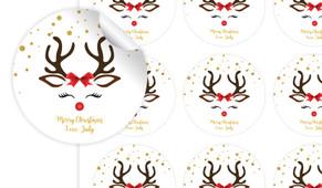 Reindeer Face Personalised 65mm Labels