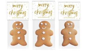 Gold Confetti Stars Gingerbread Man With Topper