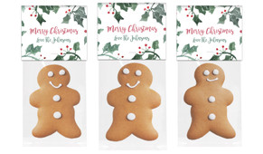 Holly Watercolour Gingerbread Man With Topper