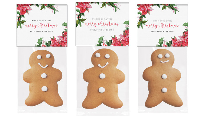 Poinsettia Gingerbread Man With Topper