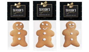 Glossy Gift Black Gingerbread Man With Topper
