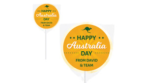Green & Gold  Australia Day Personalised Lollipops