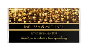 Gold Bokeh Personalised Wedding Chocolate Bar